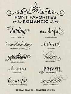 A collection of romantic inspired fonts from Elegance and Enchantment. Perfect for tattoo lettering. Calligraphy Fonts, Typography Fonts, Penmanship, Calligraphy Tattoo Fonts, Tattoo Script, Tattoo Writing Fonts, Tattoo Word Fonts, Tattoo Quotes, Tattoo Fonts For Names