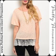 "NWT Peach Lace Trim Flutter Sleeve Burnout Top NWT Peach Burnout Flirty Lace Trim Top  Available in sizes: M, L  Measurements taken in inches from a size small:  Length: 27"" Bust: 40""  This sheer burnout top features short flutter sleeves, a rounded neckline and flirty lace trimmed hem. Rayon blend. Has stretch.   Bundle discounts available  No pp or trades Pretty Persuasions Tops"