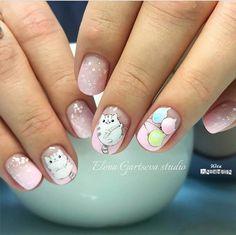 nail art designs 2019 nail designs for short nails easy full nail stickers best nail stickers best nail stickers 2019 Cat Nails, Pink Nails, Classy Nails, Trendy Nails, Cat Nail Designs, Manicure, Animal Nail Art, Kawaii Nails, Super Nails