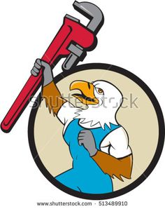 Illustration of a american bald eagle plumber raising up giant pipe wrench adjustable wrench over head looking up viewed from the side set inside circle on isolated background done in cartoon style.  #plumber #cartoon #illustration