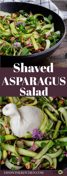 Stunning and elegant, this verdant Shaved Asparagus Salad is packed with fresh herbs and late spring vegetables. Serve it with a creamy ball of fresh burrata and a simple vinaigrette. Salad Dressing Recipes, Easy Salads, Healthy Salad Recipes, Side Dish Recipes, Delicious Recipes, Vegan Recipes, Snack Recipes, Healthy Side Dishes, Vegetable Side Dishes