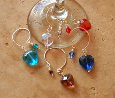 Crystal Heart Wine Glass Charms Stem Glass by JulieEllisDesigns, $22.00