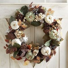 "Forest Walk Faux Gourd 24"" Wreath.  Color, color everywhere! Adorned with vibrant faux pumpkins and leaves and natural pinecones, our festive wreath is bursting with fresh fall tones. Place it on a door, over your mantel or in a centerpiece."