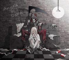 Rachel Gardner & Isaac Foster - Satsuriku no Tenshi Anime Angel, Anime W, Anime Love, Film Manga, Manga Art, Angel Of Death, Fan Art Anime, Ange Demon, Satsuriku No Tenshi