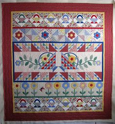 Garden Quilt-wonderful quilting by The Secret Life of Mrs. Meatloaf ~ cute baskets and a great example of a row quilt