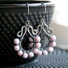 Handmade pink wire wrap earrings, Czech glass, pink earrings, mauve, oxidized copper earrings, grey, Mimi Michele Jewelry. $37.50, via Etsy.
