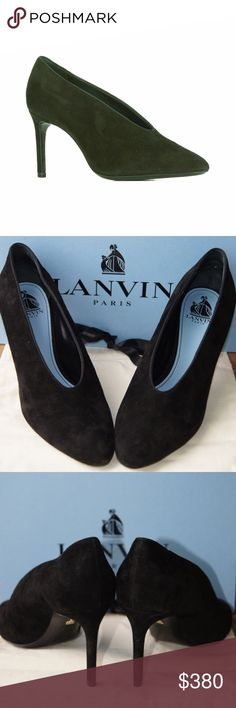 Lanvin Black Leather & Calf Suede Stiletto Pumps Offers welcome!!  Exquisite Black leather and calf suede stiletto pumps from Lanvin featuring an almond toe, a branded insole, an elasticated trim and a high stiletto heel.  Only worn One Time!  Made in Italy Designer Style ID: FWSHFPG1KIPAA16  Heel: 3,1 in  Lining Composition: Leather 100%  Sole Composition: Leather 100%  Outer Composition: Calf Suede 100% Lanvin Shoes Heels