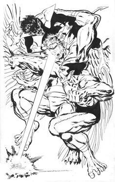 Beast & Nightcrawler Vs Mimic commission by John Byrne. 2015.
