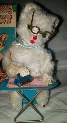 Vtg Japan Nomura Wind Up Tin Toy Mohair Ironing Cat With Box Tested/Working