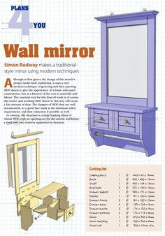 #1594 Wall Mirror Plans - Other Woodworking Plans and Projects