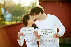 he asked, and she said yes signs save the date photo