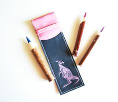 Leather Pencil Case with a Kangaroo Blue Leather Pencil by KaroEva, $23.00