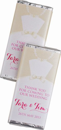 Customised 'chocolate bar guest favours |Timeless Weddings Company