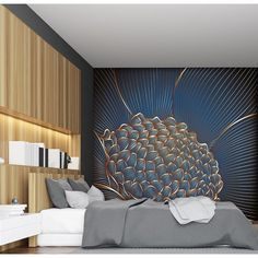 Papier peint Panoramique - Raflesia - Lilly is Love Bedroom Wall Designs, Home Decor Bedroom, Textures Murales, Wall Texture Design, Wall Clock Sticker, Home Room Design, Interior Walls, Luxurious Bedrooms, Wall Wallpaper