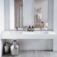 Badevask: DOBBEL VASK CORIAN® ENERGY Corian, Double Vanity, Bathtub, Bathroom, Standing Bath, Washroom, Bathtubs, Bath Tube, Full Bath