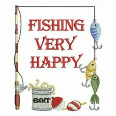 Fishing Very Happy embroidery design