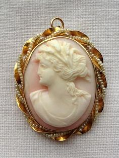Victorian 10K Gold Seed Pearl Pink Shell Cameo Brooch