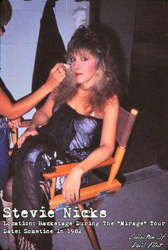 Stevie Nicks backstage during the Mirage Tour