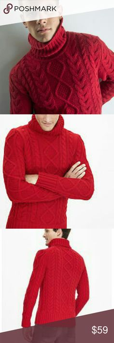 Banana Republic men's red cable turtleneck sweater NWOT turtleneck sweater.  Cable design.  I did have the tag, but it got lost in the wind!  No issues.  Great Christmas party or gathering sweater. Banana Republic Sweaters Turtleneck
