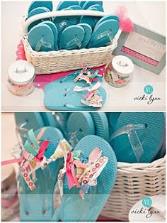 Little Girls Spa Birthday Party Ideas - buy cheap flops and easily embelish with ribbon.  Make sure to get a pic of all the girls feet at the party.