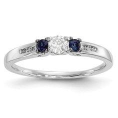 14k White Gold Diamond & Blue Sapphire Ring - Sparkle & Jade, SparkleAndJde.com, [product_sku]