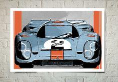 Car Art Vintage Porsche 917 Gulf race car by MediaGraffitiStudio