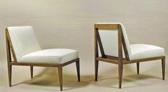 Pair of Egyptian inspired oak slipper chairs by Marc du Plantier, 1952 (Galerie Anne-Sophie Duval, Paris)