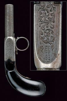 A rare Mariette needle fire pistol  provenance: Belgium dating:  third quarter of the 19th Century