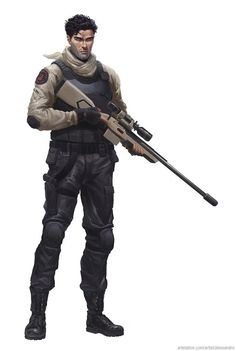 Sniper by alessandro-poli on DeviantArt Post Apocalypse, Apocalypse Survivor, Character Concept, Character Art, Character Design, Star Wars Characters, Fantasy Characters, Gangsters, Fractal