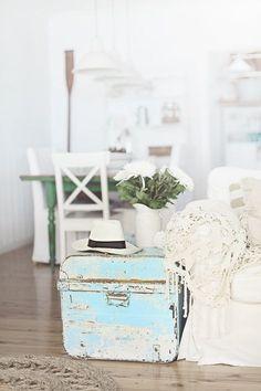 beach cottage blue coastal trunk - Beach Decor Blog, Coastal Blog, Coastal Decorating