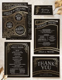 art deco wedding invitations Art Deco inspired black and gold wedding invitations from Minted. PLUS A GIVEAWAY! (ends Nov 30 Great Gatsby Wedding, 1920s Wedding, Wedding Sets, Wedding Wishes, Formal Wedding, Trendy Wedding, Parisian Wedding, Renaissance Wedding, Wedding Rings