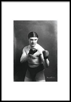 Plakat med sorthvidt foto af bokser. Posters og plakater. www.desenio.dk