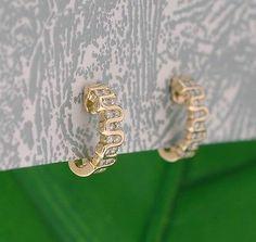 Beautiful Solid 14kt Yellow Gold Genuine Diamond Curve Swirl Semi Hoop Earrings | eBay
