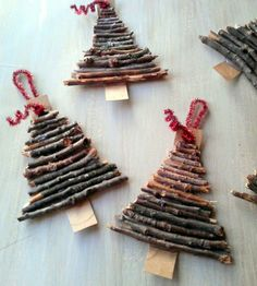 Twig Christmas Tree Ornaments Rustic twig and cardboard Christmas tree ornaments - StowandTellURustic twig and cardboard Christmas tree ornaments - StowandTellU Cardboard Christmas Tree, Twig Christmas Tree, Noel Christmas, Rustic Christmas, Winter Christmas, Twig Tree, Christmas Sayings, Christmas Gifts, Xmas Trees