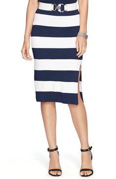 Lauren Ralph Lauren Stripe Stretch Knit Pencil Skirt