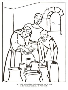 Elisha And The Jar Of Oil (Coloring Page) Coloring pages are a ...
