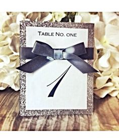 Silver ribbon & glitter table number great for weddings, sweet sixteens, birthdays, engagements parties, and other events. on Etsy, £1.87