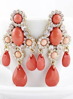 Red Drop Gemstone Gold Crystal Earrings
