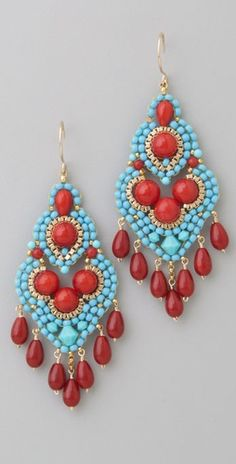 Miguel Ases Turquoise & Coral Mini Chandelier Earrings made with brick stitch