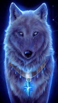 Wolf Wallpaper - My Wallpaper Dark Fantasy Art, Fantasy Wolf, Beautiful Fantasy Art, Pet Anime, Anime Animals, Cute Animals, Funny Animals, Anime Art, Artwork Lobo