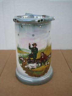 Currier & Ives Wild Duck Shooting Trick Beer Stein German Mug with Holes