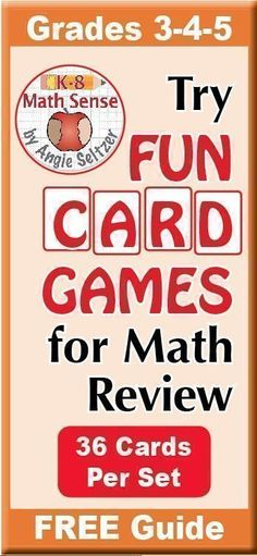 Fun math games are great for review and remediation. English and Spanish instructions are included for four games to use with dozens of free or paid easy-to-print card sets for Grades 3-5. Topics include fractions, basic facts, measurement, and more.