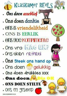 Classroom rules - Afrikaans Classroom Behavior Management, Classroom Rules, Classroom Posters, School Classroom, Classroom Ideas, Future Classroom, Teaching Posters, Teaching Aids, Spelling Activities