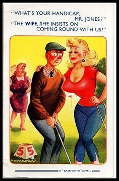 Early 1950 Signed comic Risqué Postcard Golf Niblick club Ball Handicap theme