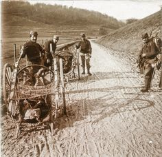 WWI, Étain, Meuse, 1914; Two-wheeled stretcher-carrying carts with corpses of soldiers. -La PremièreGM, 14-18 (@1erGM)   Twitter