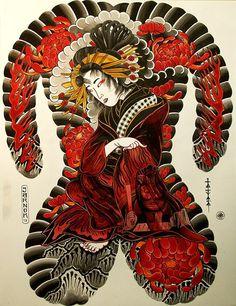 tattoos in japanese prints Japanese Back Tattoo, Japanese Tattoo Symbols, Japanese Tattoo Designs, Japanese Sleeve Tattoos, Backpiece Tattoo, Irezumi Tattoos, Full Body Tattoo, Traditional Japanese Tattoos, Asian Tattoos