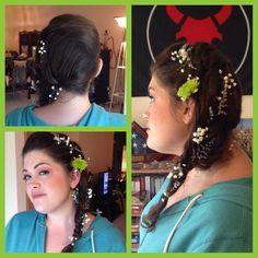 Floral Updo.  Fishtail braid.  Side braid.