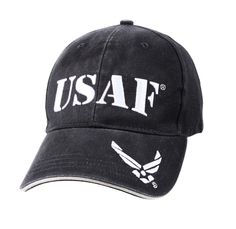 NAVY BLUE USAF HATS 100 % Brushed Cotton Twill Material Embroidered Insignia on Front Panel & Brim Sandwich Bill Adjustable Back w/ Hook & Loop Closure Officially Licensed by U.S. Air Force