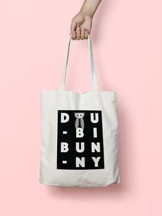 Doubi Bunny tote bag  canvas tote bag screen printed by DoubiBunny