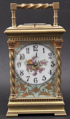 A Late 19th Century French Brass And Porcelain Mantle Clock. 1890.